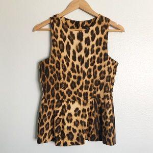Zara Animal Print Peplum Sleeveless Top Size Small